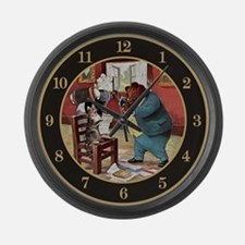 ROOSEVELT BEARS TEACH CAT TO Large Wall Clock