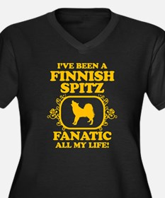 Finnish Spitz Women's Plus Size V-Neck Dark T-Shir