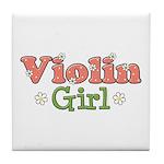 Violin Girl Violin Tile Coaster
