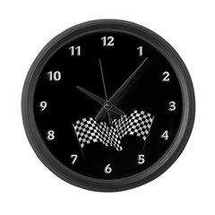 Racing Flags Large Wall Clock