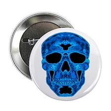 "Ice Blue Skull 2.25"" Button"