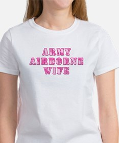 Army Airborne Wife Pink Camo Women's T-Shirt