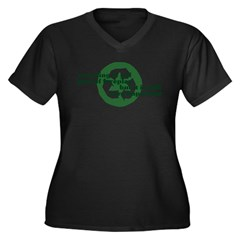 Recycling Women's Plus Size V-Neck Dark T-Shirt
