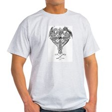 celtic cross with dragons Ash Grey T-Shirt