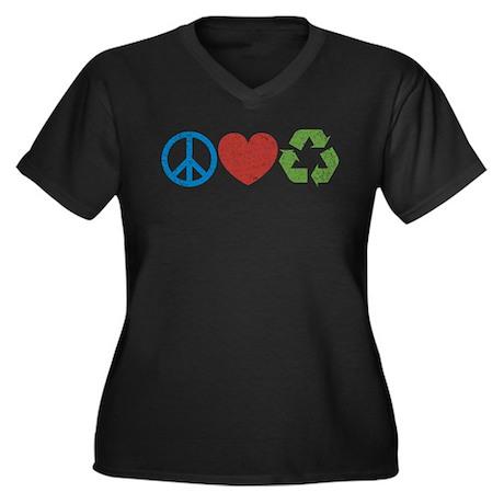 Peace, Love, Recycle Women's Plus Size V-Neck Dark