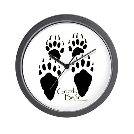 Grizzly Bear Tracks Design Wall Clock