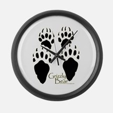 Grizzly Bear Tracks Design Large Wall Clock