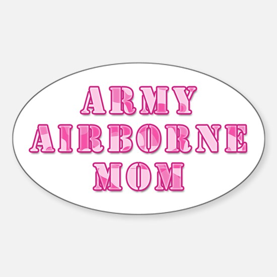 Army Airborne Mom Pink Camo Oval Decal