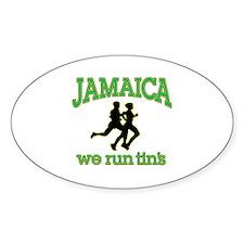 Jamaica we run tin's Oval Decal