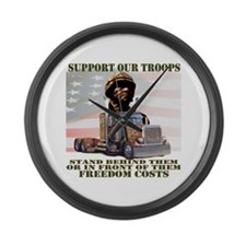 Truckers Supporting Our Troop Large Wall Clock