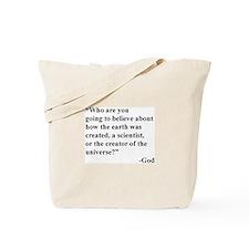 Scientist Vs God Tote Bag