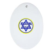 Obama Biden Jewish Oval Ornament