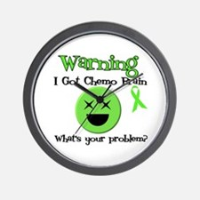 Warning Chemo Brain Wall Clock