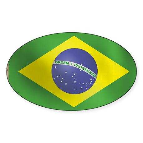 Brazilian Flag Oval Sticker