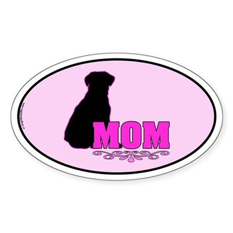 Girly Labrador Mom Sticker (Oval)