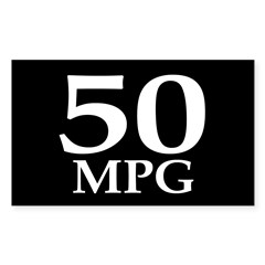 50 mpg (car mileage bumper sticker)