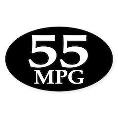 55 mpg (mileage oval bumper sticker)