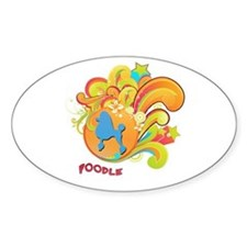 Groovy Poodle Oval Decal