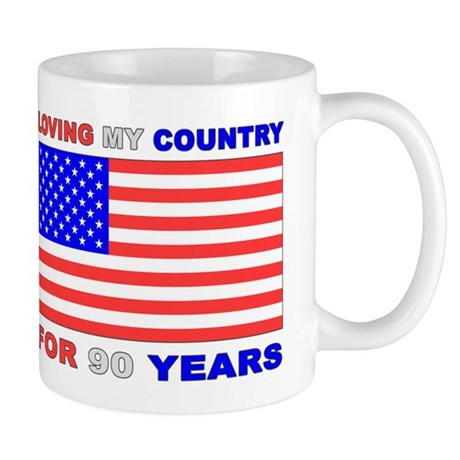 Patriotic 90th Birthday Mug