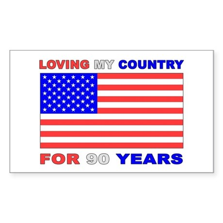 Patriotic 90th Birthday Rectangle Sticker