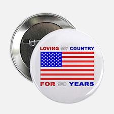 "Patriotic 90th Birthday 2.25"" Button (10 pack)"