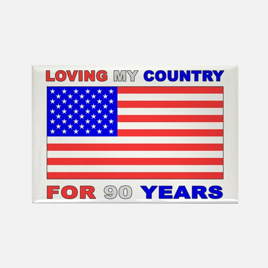 Patriotic 90th Birthday Rectangle Magnet