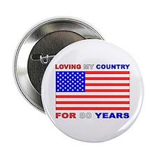 "Patriotic 80th Birthday 2.25"" Button (100 pack)"