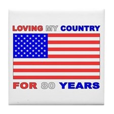 Patriotic 80th Birthday Tile Coaster