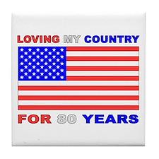 Patriotic 80th Birthday Tile Coaster