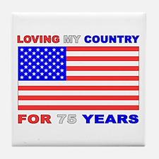 Patriotic 75th Birthday Tile Coaster