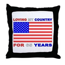 Patriotic 65th Birthday Throw Pillow