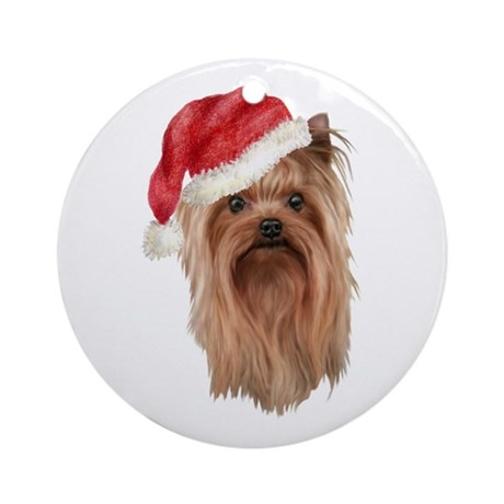 Christmas Yorkshire Terrier Ornament (Round)