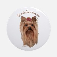 Yorkshire Terrier, breed name. Ornament (Round)