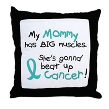 Big Muscles 1.2 TEAL (Mommy) Throw Pillow
