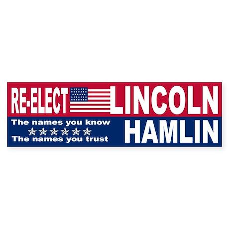 Re-Elect Lincoln/Hamlin Bumper Sticker