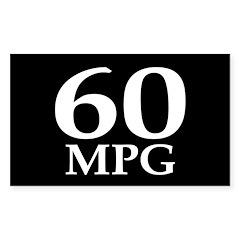 60 mpg (car mileage bumper sticker)