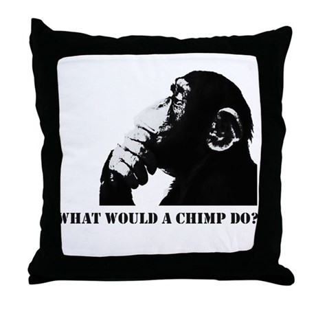What would a chimp do? Throw Pillow