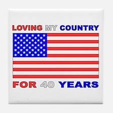 Patriotic 40th Birthday Tile Coaster