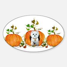 Autumn Pumpkin Westie Oval Decal