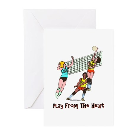 Volleyball Heart Greeting Cards (Pk of 10)