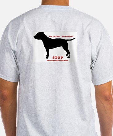 STOP BSL Ash Grey T-Shirt (2 sided)