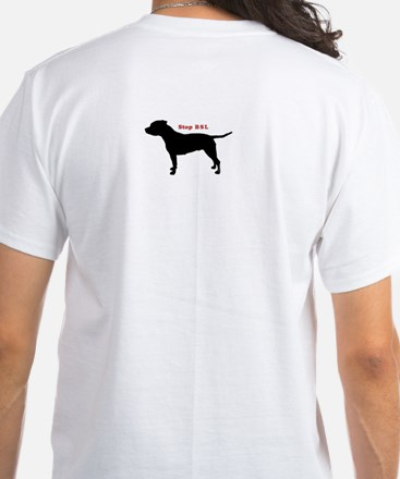 STOP BSL White T-Shirt (2 sided)