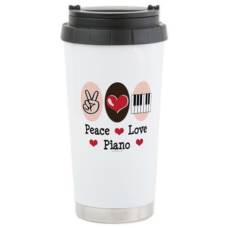 Peace Love Piano Stainless Steel Travel Mug