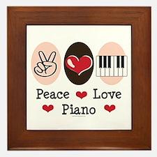 Peace Love Piano Framed Tile