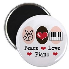 """Peace Love Piano 2.25"""" Magnet (10 pack)"""