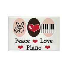 Peace Love Piano Rectangle Magnet