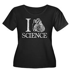 I Heart Science Women's Plus Size Scoop Neck Dark