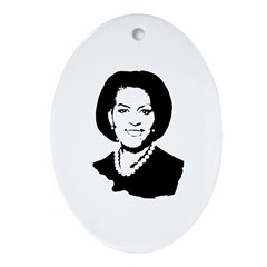 Michelle Obama screenprint Oval Ornament
