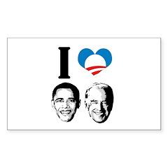 I Love Obama Biden Rectangle Decal