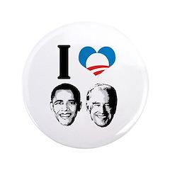 """I Love Obama Biden 3.5"""" Button (100 pack)"""
